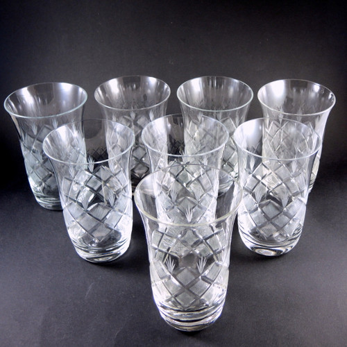 8 Danish Lyngby Vienna Antique Wien Antik Cut Crystal Tumblers Glasses
