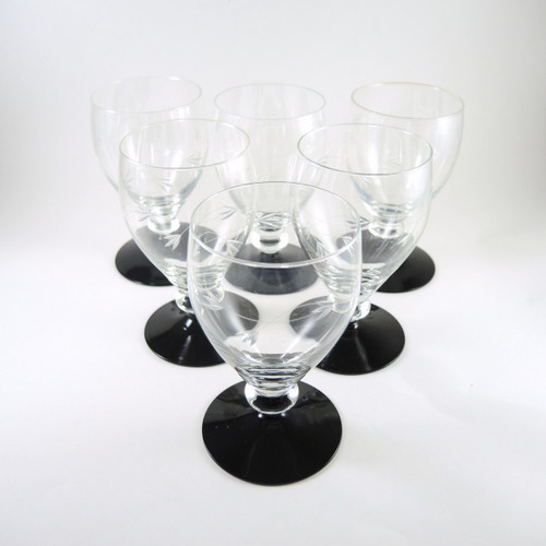 6 Vintage Art Deco Holmegaard Black Foot Ranke Red Wine Glasses