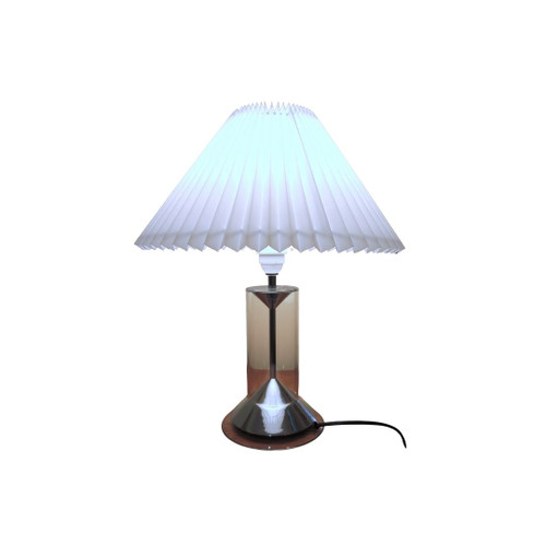 Rare Vintage Clear Glass Table Lamp Le Klint 303A with Danish pleated shade