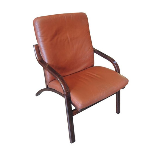 Vintage Danish Stouby Leather Bentwood Low Back Easy Chair