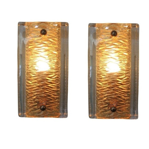 Vintage Pair of Swedish Orrefors Crystal & Brass Wall Sconces