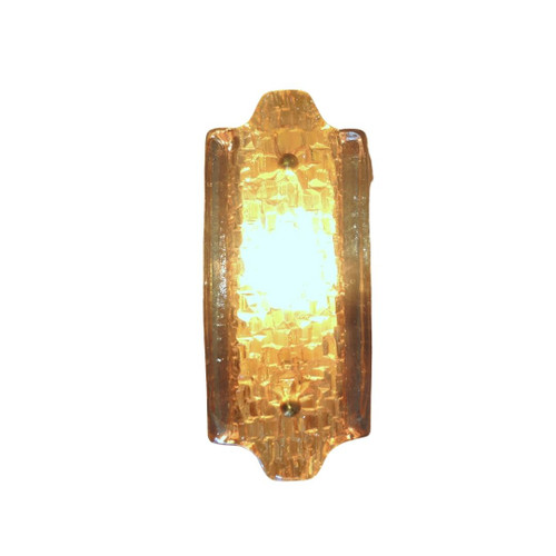 Vintage Single Swedish Orrefors Crystal & Brass Wall Sconce
