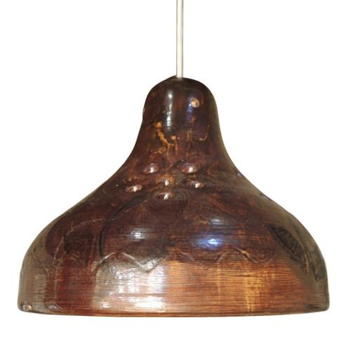Vintage Mid Century Danish Stoneware Pottery Pendant Ceiling light