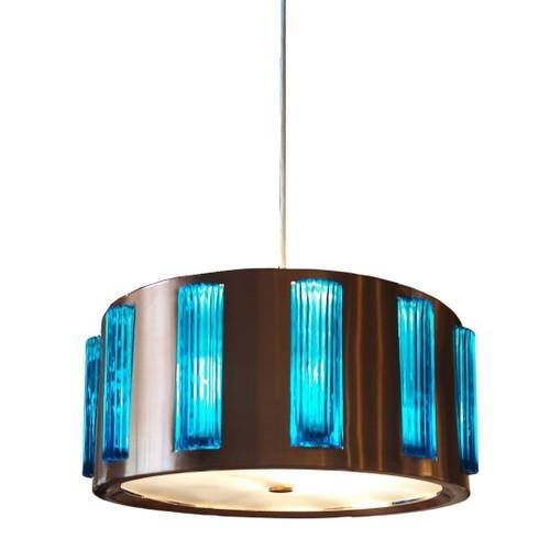 Vintage Mid-Century Copper Tone UFO Light with Aqua Glass Panels