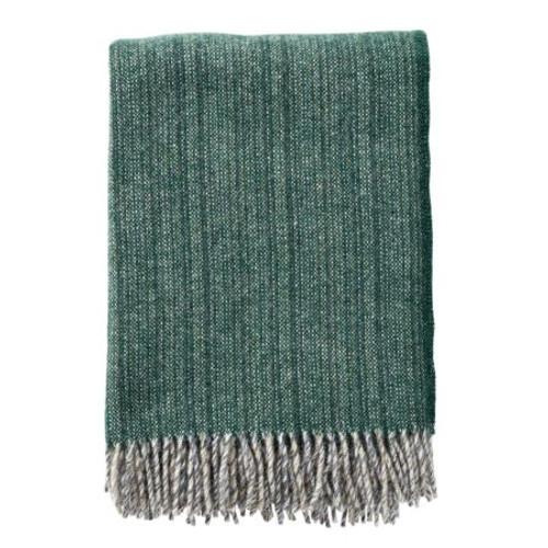 Brand New Klippan 100% Eco Lambs Wool Bjork Forest Green Blanket 130cm x 200cm