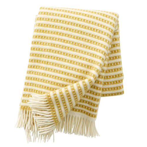Brand New Klippan Lambs Wool Blanket Olle Saffron