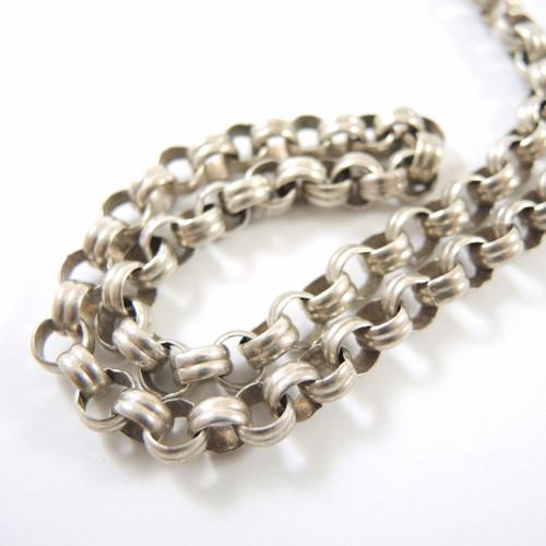 Antique Sterling Silver Fancy Belcher Link Watch or Locket Chain