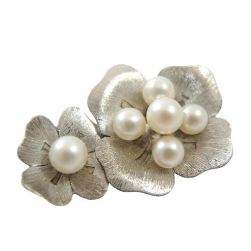 Vintage Solid Silver Japanese Mikimoto Pearl Brooch