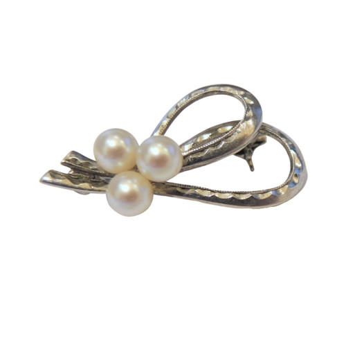 Vintage Solid Silver Japanese Mikimoto 3 Pearl Brooch