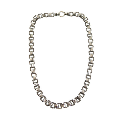 43cm Antique Sterling Silver Fancy Locket or Book Chain Necklace