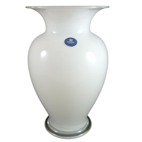 Holmegaard Amphora White Glass Vase, Medium Size, Made in Denmark