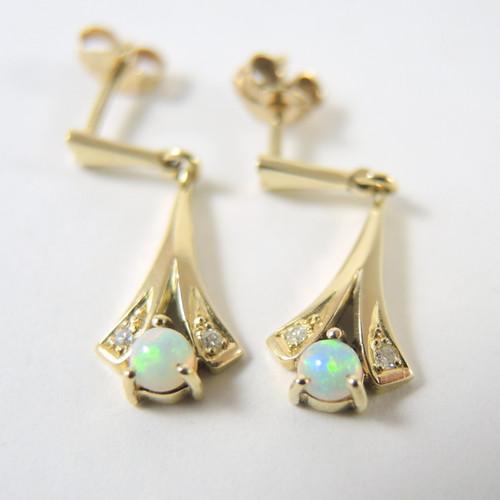 Vintage 14ct Gold Opal & Diamond Drop Earrings