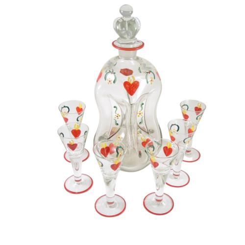 Vintage Holmegaard Enamel Viol Hearts Decanter & 6 Schnapps Glasses