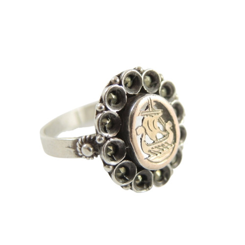 Vintage 900 Silver and 9ct Gold Marcasite Viking Ship Ring
