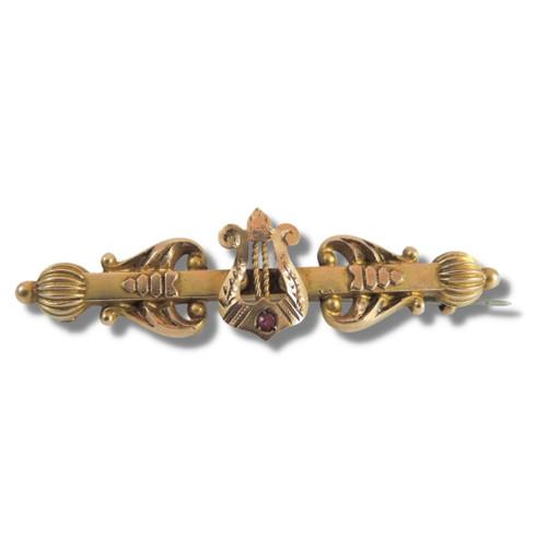 Antique Australian 9ct Gold Amethyst Lyre Brooch T Willis Melbourne c1900