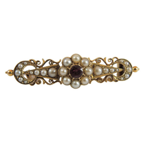 Antique Australian 18ct Gold Seed Pearl and Red Stone Brooch Signed SS