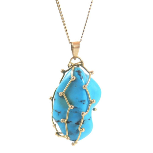 18ct Gold and natural Turquoise Pendant necklace made in Egypt