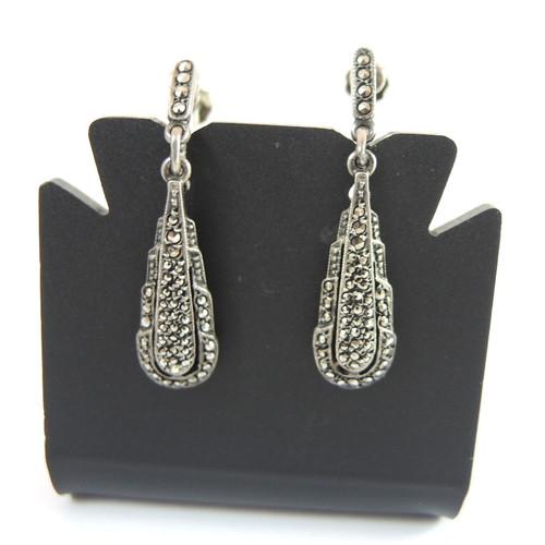 Art Deco Sterling Silver Marcasite Drop Earrings Germany