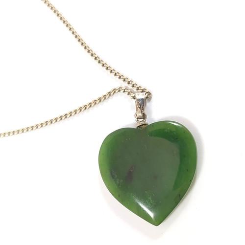 Vintage New Zealand Greenstone Jade Heart Pendant on sterling silver chain.