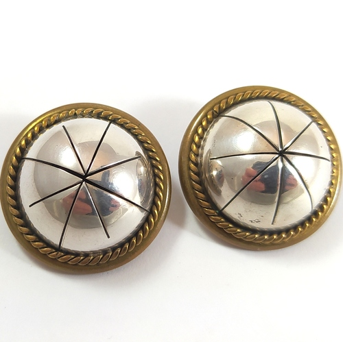Large Vintage Mexican Sterling Silver Clip on Earrings