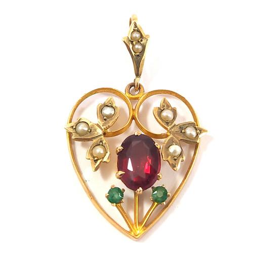 Antique Australian 9ct Gold & Paste Heart Pendant Robert Rollason & Co Ltd