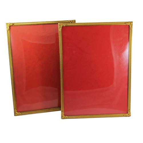 2 x Vintage Ornate Danish Brass Frames Convex Glass photo size 24cm x 18cm