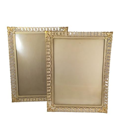 2 x Vintage Ornate Danish Brass Enamel Frames Convex Glass photo size 24cm x 18cm