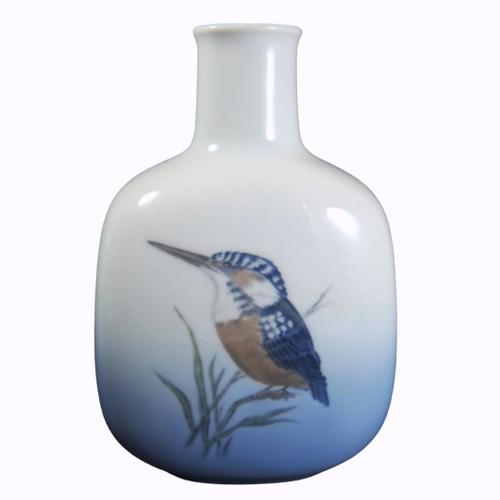 Vintage Danish Royal Copenhagen Hand Painted Kingfisher Vase 5014