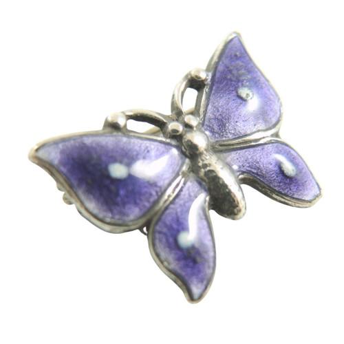 Art Deco Vintage Sterling Silver Purple Enamel Butterfly Brooch