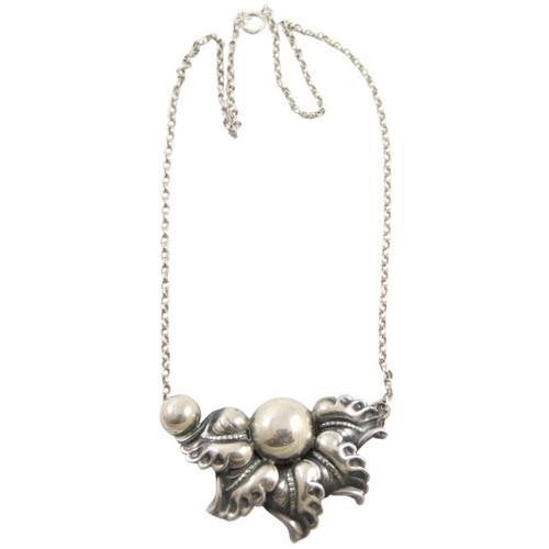 Vintage European 830 Jugendstil Silver Leaf & Berry Motif Necklace