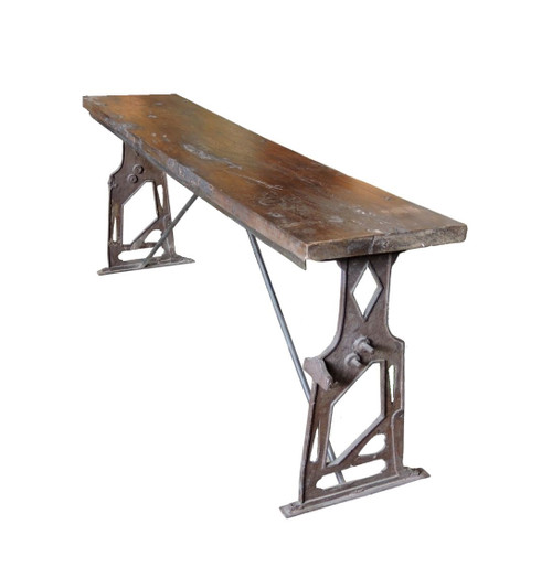 Rustic Wooden Cast Iron Base Outdoor Bench Seat