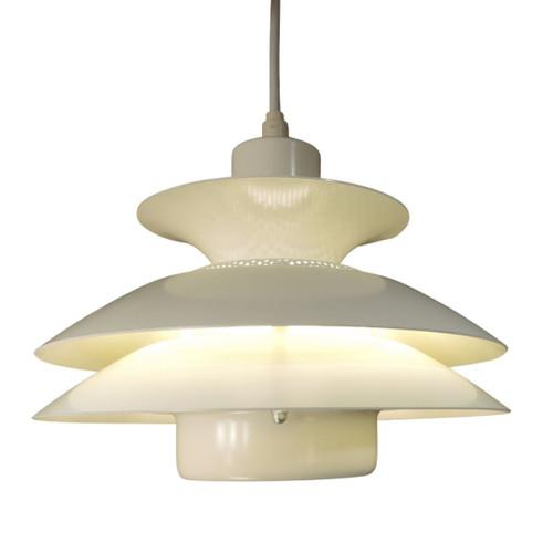 Small Vintage Danish Modern Jeka White Tiered Pendant Light