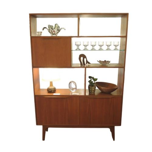 Vintage Mid Century Teak Room Divider with Cocktail Cabinet