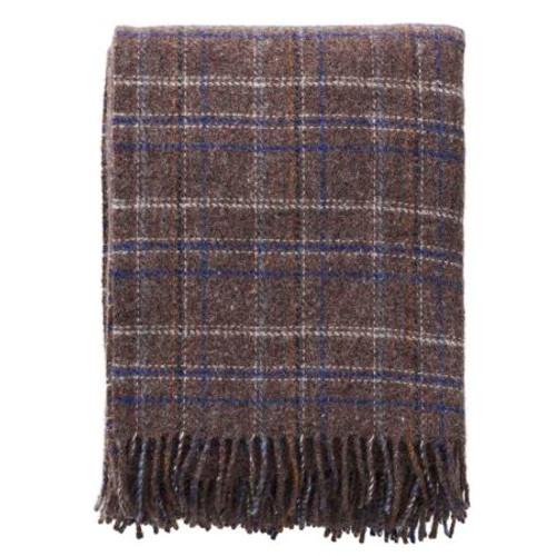 Brand New Klippan Square Blue Brown Recycled Lambs Wool Throw 200cm x 130cm