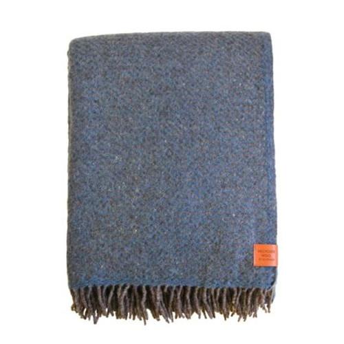 Brand New Klippan Wave Nordic Blue Recycled Lambs Wool Throw 200cm x 130cm