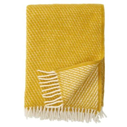 Brand New Klippan 100% Lambs Wool Saffron Velvet Blanket 130cm x 200cm