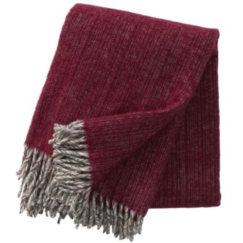 Brand New Klippan 100% Eco Lambs Wool Bjork Cherry Blanket 130cm x 200cm