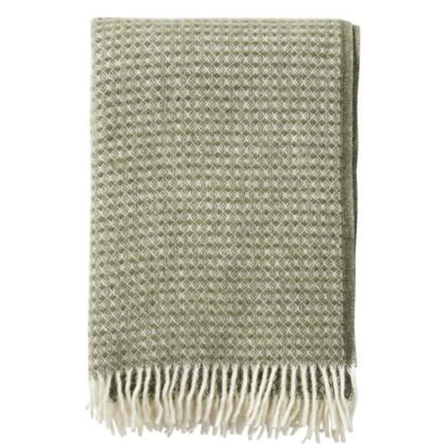 Brand New Klippan 100% Eco Lambs Wool Diamonds Dusty Green Blanket 130cm x 200cm