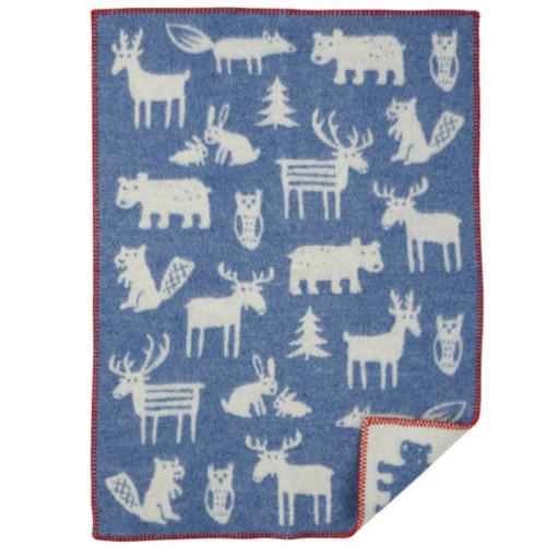 Brand New Klippan Eco Lambs Wool Baby Blanket Forest Blue