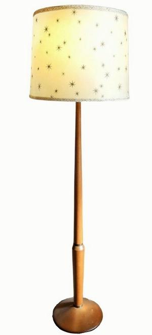 Vintage mid Century Australian Oak Floor Lamp with Fibreglass Shade