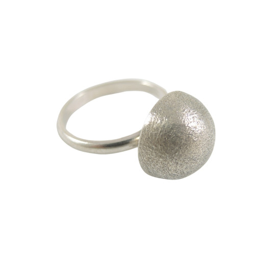 Vintage Mid Century Modern Italian Sterling Silver Dome Ring Arezzo c1950