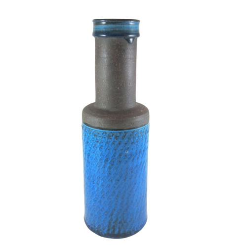 29cm Vintage Danish Art Pottery Nils Kahler for HAK Hermann Kahler Ceramics Blue Vase