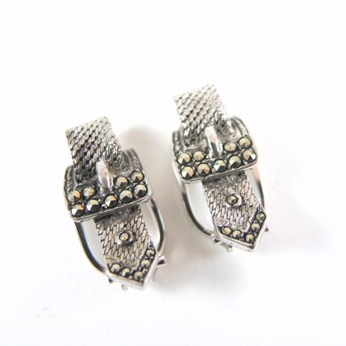 Vintage Art Deco Sterling Silver Marcasite Buckle Earrings - Clip Ons