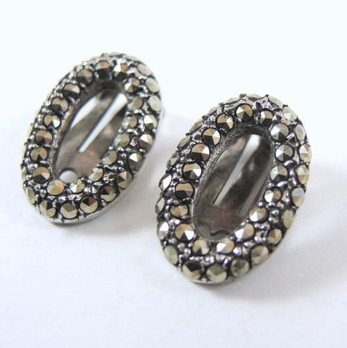 Vintage Art Deco Rhodium Plated Marcasite Earrings - Clip Ons.
