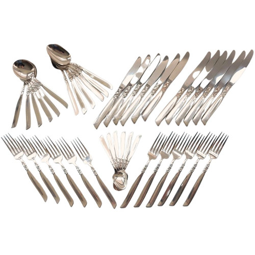 Vintage Oneida South Seas Silver Plated Cutlery Set for 6 People