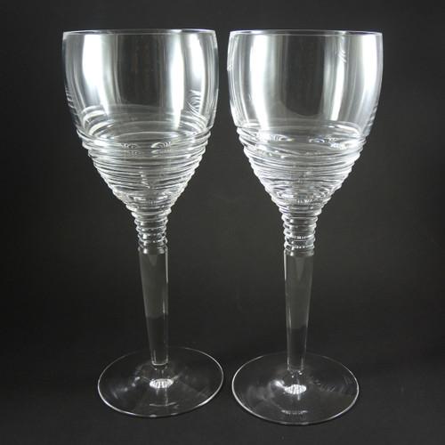 2 Jasper Conran Stuart Crystal Strata 25cm tall Wine Glasses or Goblets