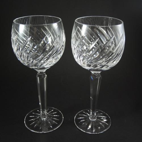 2 Vintage Waterford Crystal Michele White Wine Hock Glasses