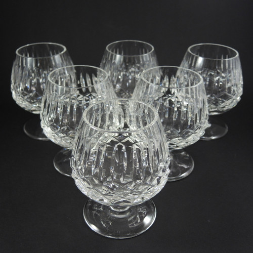 6 Small Vintage Cut Emerald Crystal Cognac Brandy Sniffers