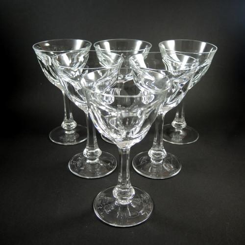 6 Vintage 14cm Moser Lady Hamilton Wine Glasses 110mls.