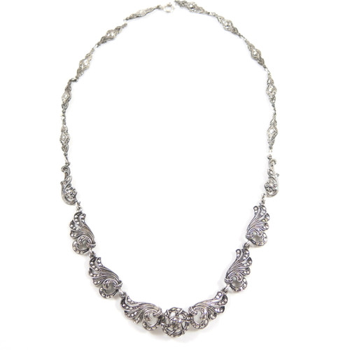 1940's Vintage Full Length Sterling Silver & Marcasite Necklace Germany